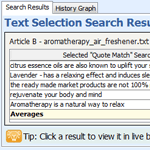 Text Selection Search Results Window